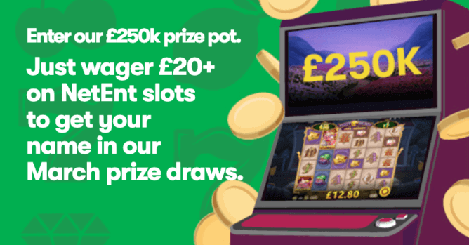 Wager £20 on Slots and Enter the March Prize Draws at 10Bet