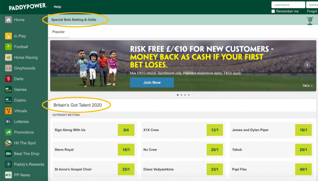 paddy power britains got talent specials betting