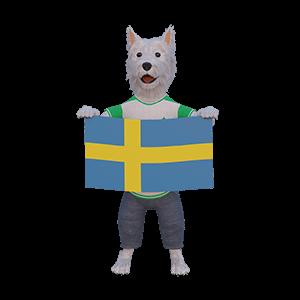 betpal dog mascot with swedish flag