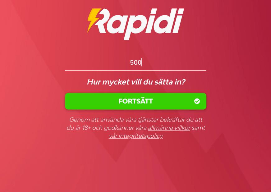 rapidi snabb registrering hemsida
