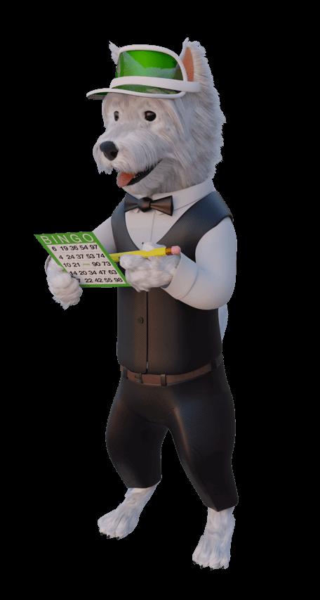 betpal dog mascot playing bingo