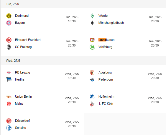 2020 bundesliga 26-27 may fixtures schedule