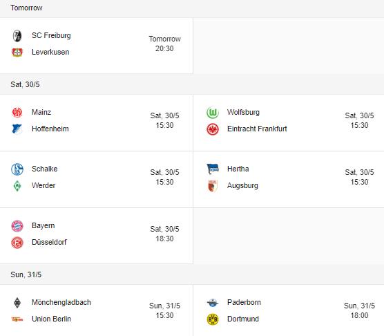 bundesliga 2020 fixtures schedule 29 - 31 may