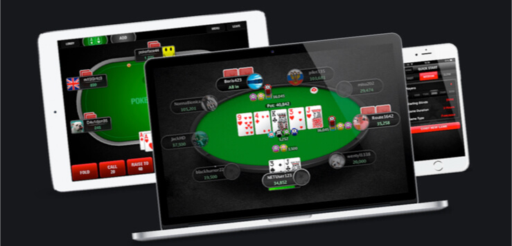 playing poker on laptop, tablet and mobile