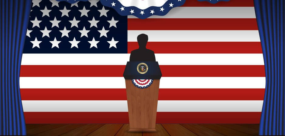 Presidential election banner background. President podium with unknown person on stage and United state of America. Vector illustration.