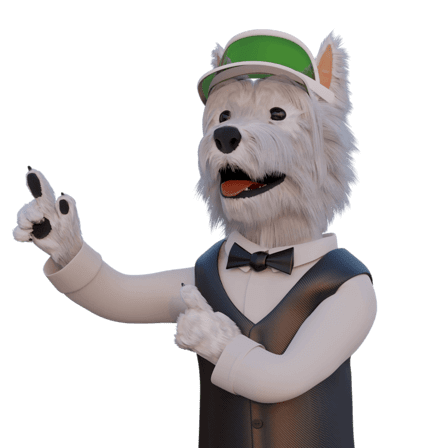 betpal dog mascot pointing