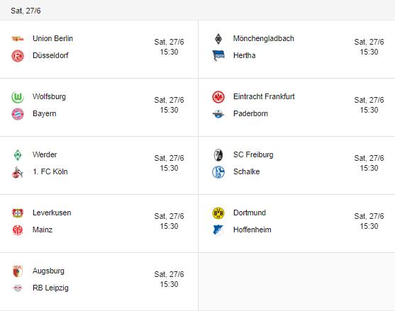 bundesliga fixtures 27 june 2020