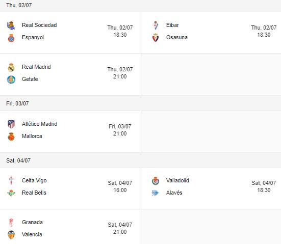 la liga 2020 fixtures 02-04 july