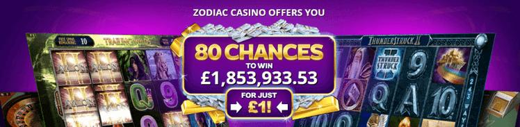 zodiac casino deposit one pound get 20 free