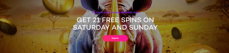21 com weekend free spins