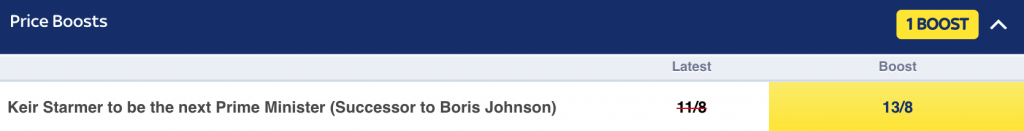 odds boost next prime minister