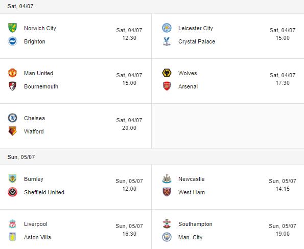 premier league 2020 fixtures 04-05 july