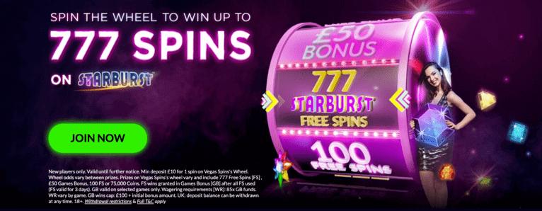 Welcome Bonus at Vegas Spins Casino
