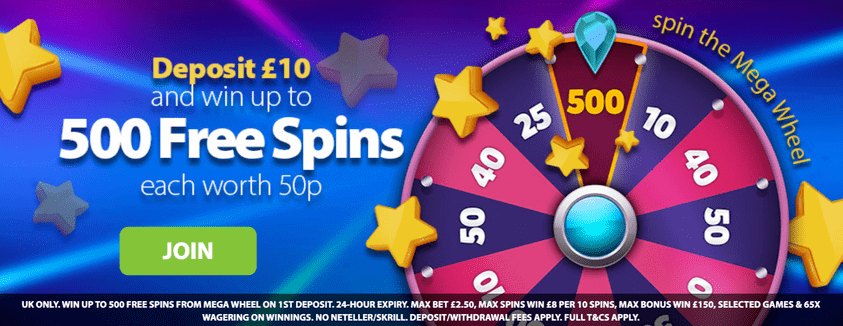 deposit 10 and win up to 500 free spins at bgo