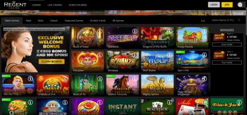 Regent Casino - page d'accueil