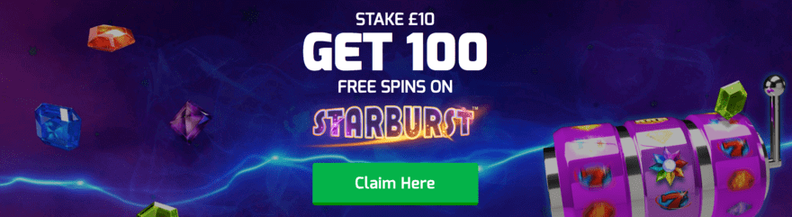 stake 10 get 100 free spins on starburst at betfred