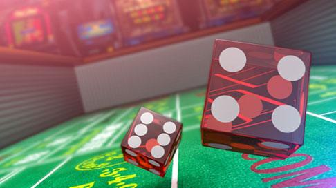 dice on craps table