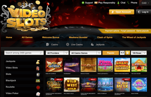 Example of games at videoslots