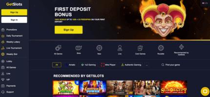 GetSlots Casino nz homepage