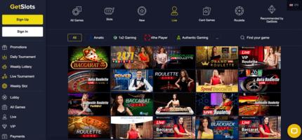 GetSlots nz live casino games
