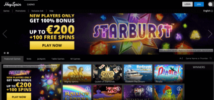 HeySpin Casino welcome page