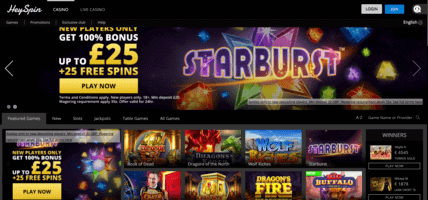 heyspin casino welcome page