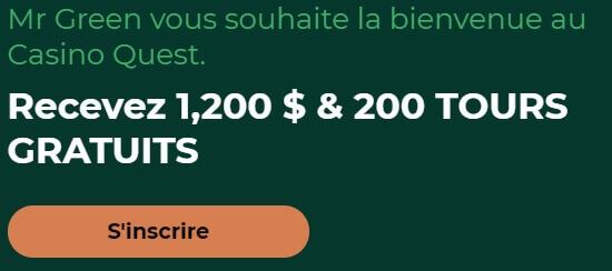 mr green canada bonus de bienvenue