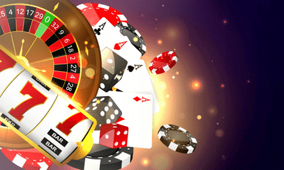 slots, roulette, gaming cards & casino chips graphic