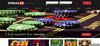 Spreadex Casino homepage