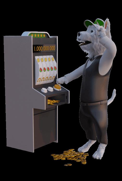betpal dog mascot playing a slot machine