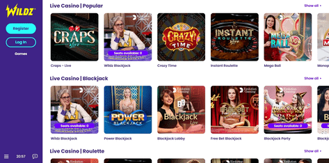 Example of live casino games at Wildz