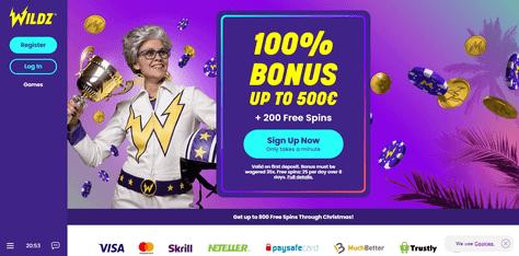 Wildz Casino welcome screen