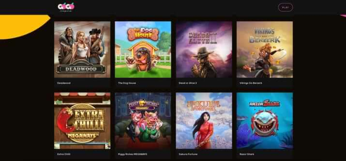 Example of games at GoGo Casino