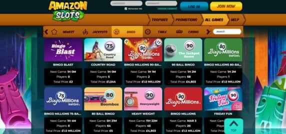 Bingo room at Amazon Slots