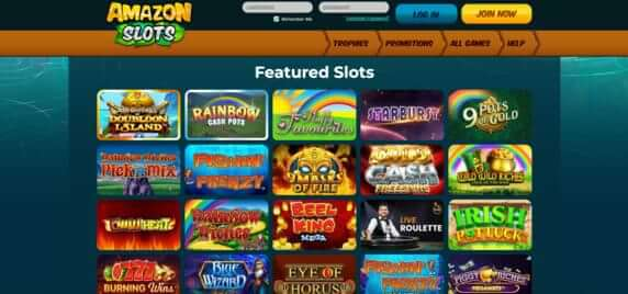 Featured slot games at Amazon Slots