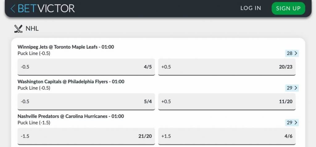 bet victor ice hockey betting