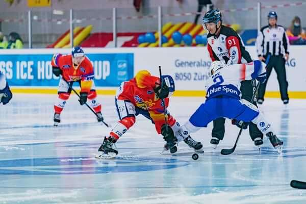 ice hockey players on the field