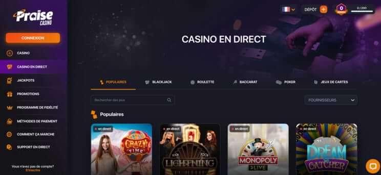 praise casino canada