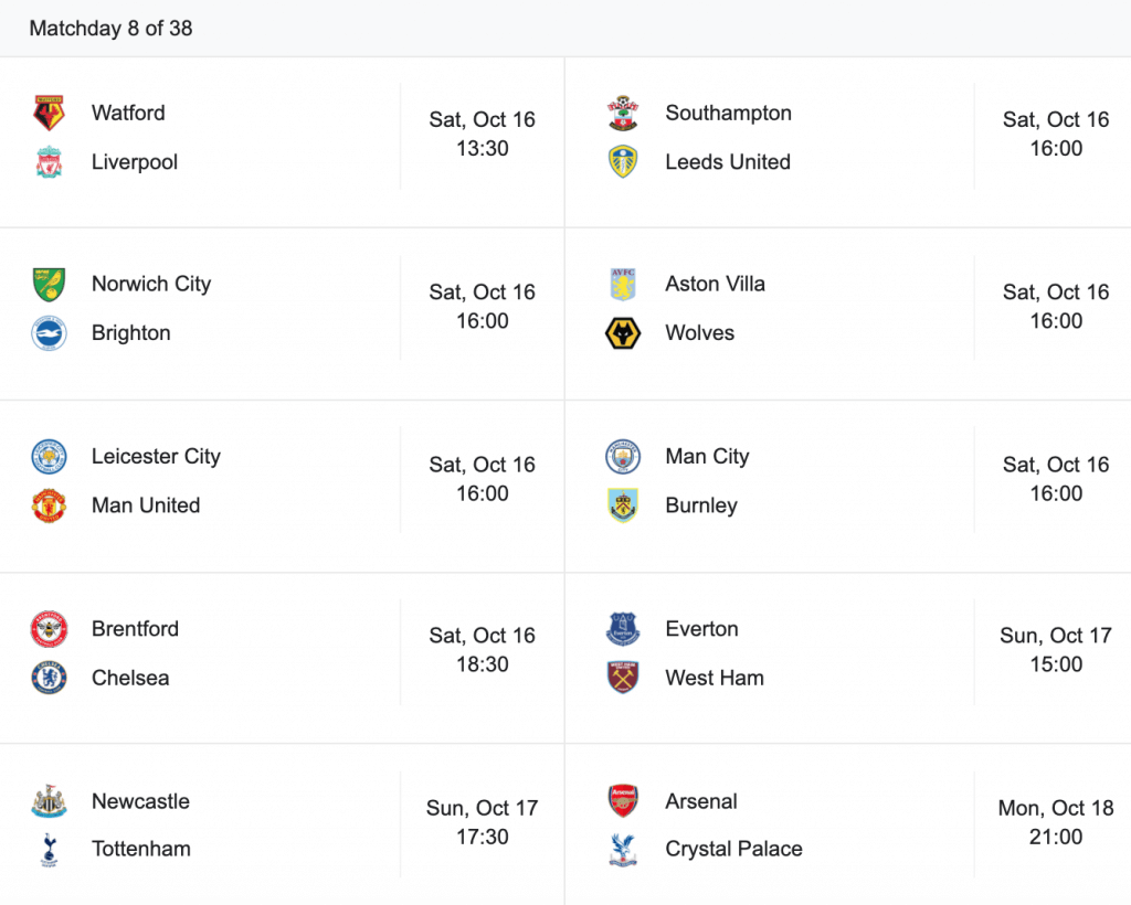 epl matchday 8